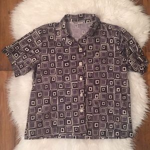90s Vintage Geometric Buttondown Shirt